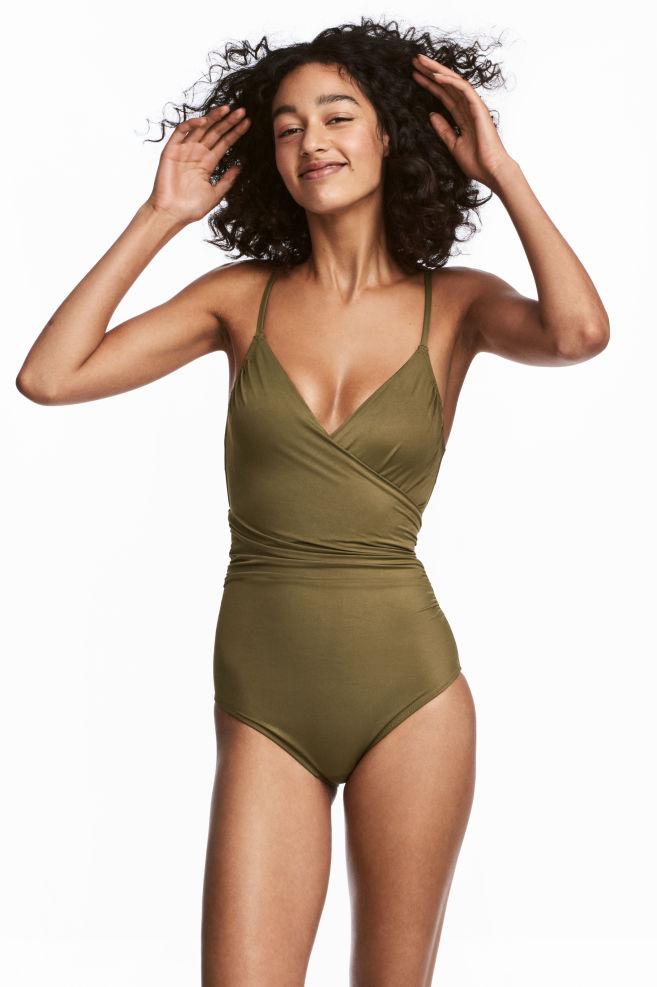 b14bbe46ac Maillot de bain sculptant - Vert kaki - FEMME | H&M ...