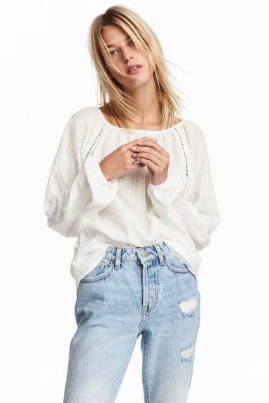 Cotton blouse - White -  | H&M IE