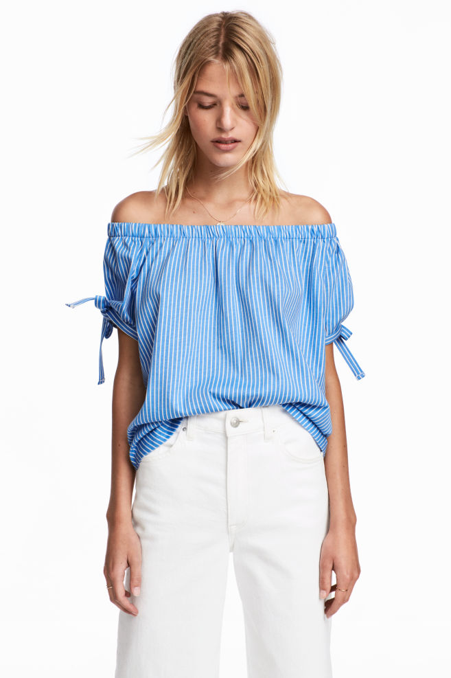 f84c78c5ce028 Off-the-shoulder top - Light blue White striped - Ladies