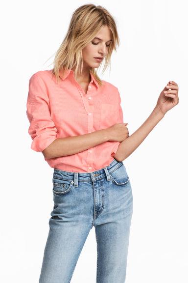 Cotton shirt - Neon coral -  | H&M