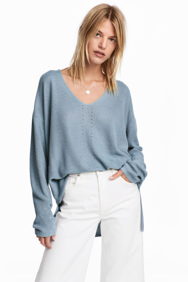 Fine-knit jumper - Blue-grey -  | H&M