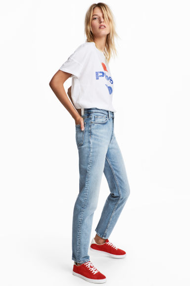 Straight High Waist Jeans - Licht denimblauw - DAMES | H&M BE