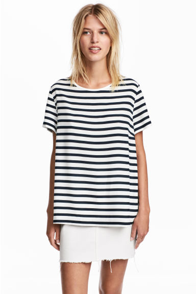 Short-sleeved blouse - White/Blue striped -  | H&M