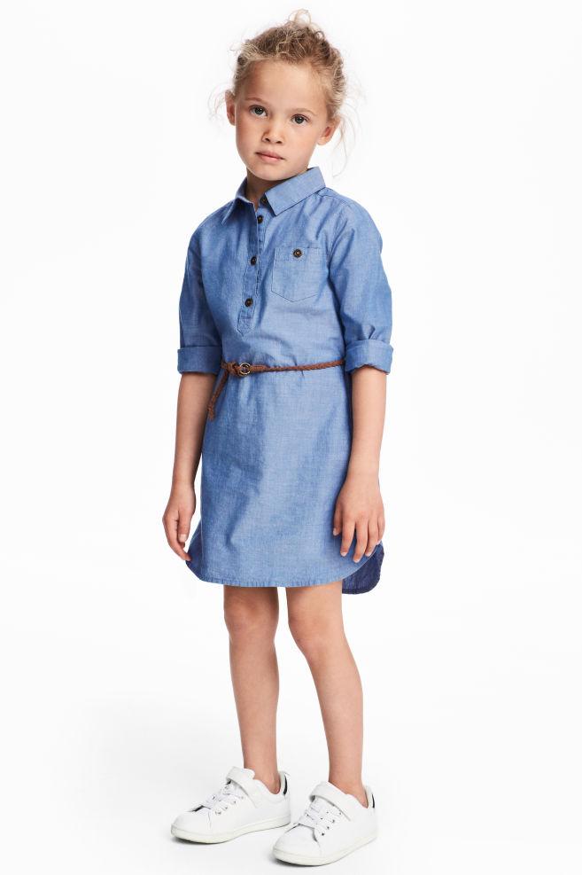 ca73e6914a676b1 Платье-рубашка - Голубой/Шамбре - Дети | H&M ...