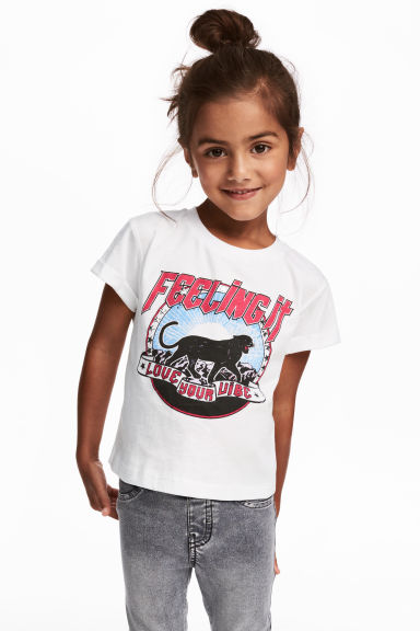 Printed jersey top - White/Panther - Kids | H&M GB