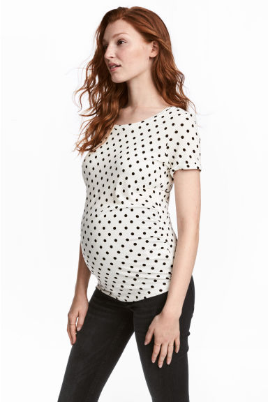 MAMA Tricot top - Wit/stippen -  | H&M BE