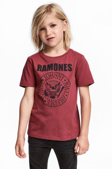 Printed T-shirt - Dark red/Ramones - Kids | H&M
