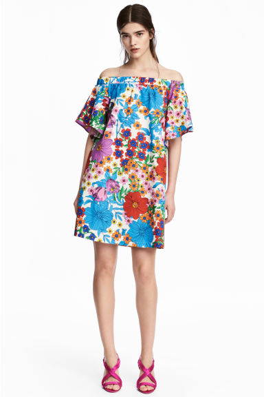 Off-the-shoulderjurk - Wit/bloemen - DAMES | H&M BE