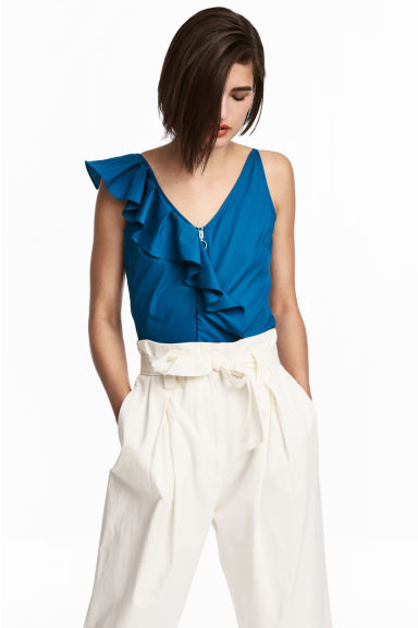 Short flounced top - Dark blue - Ladies | H&M