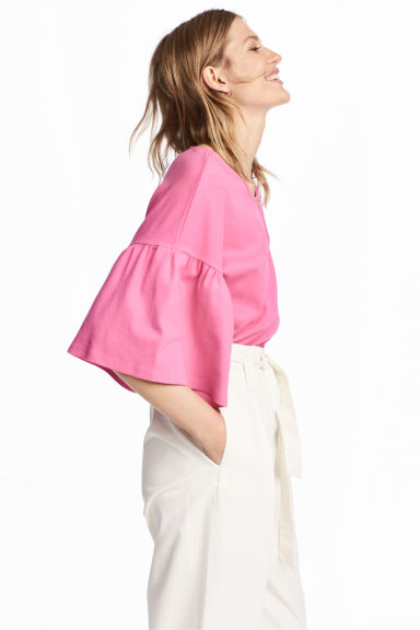 Top with flounced sleeves - Pink -  | H&M