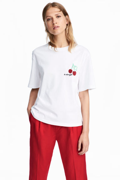 Top avec applications - Blanc/cerise - FEMME | H&M BE