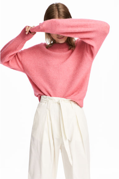 Knitted mohair-blend jumper - Pink marl -  | H&M IE
