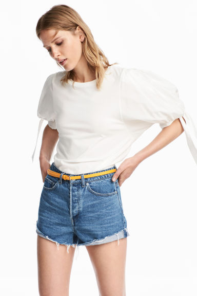 Balloon-sleeved top - White -  | H&M
