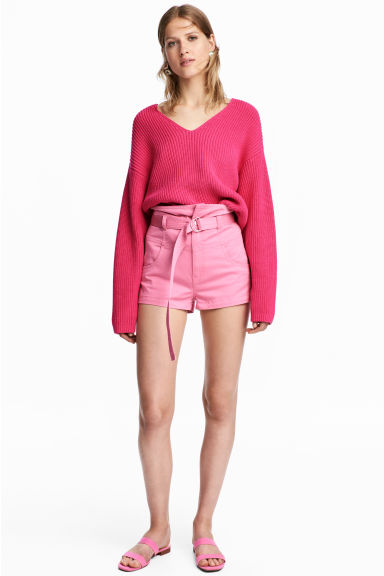 Belted shorts - Pink - Ladies | H&M GB