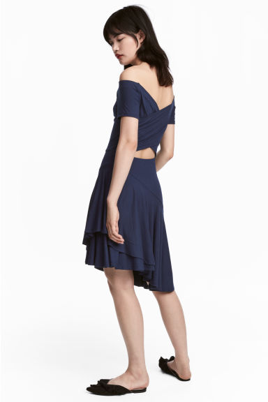 Off-the-shoulder dress - Dark blue -  | H&M