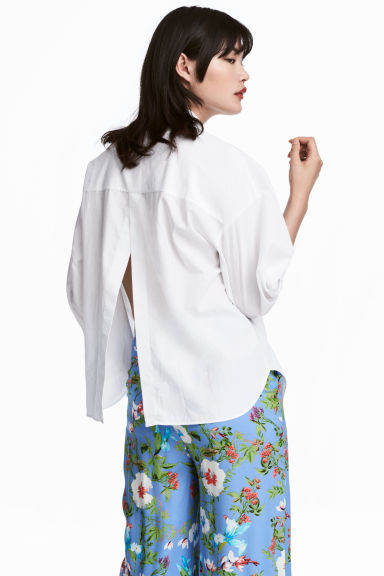Wide cotton blouse - White - Ladies | H&M CN