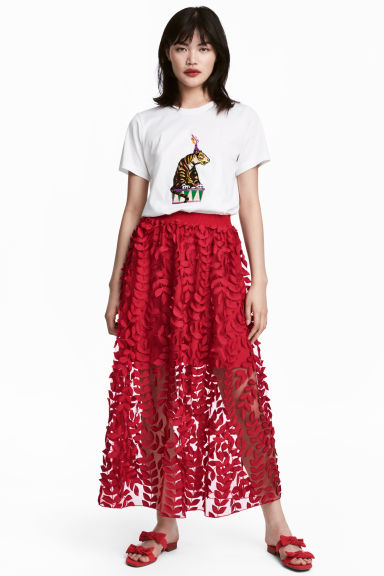 Tulle skirt with embroidery - Red - Ladies | H&M GB