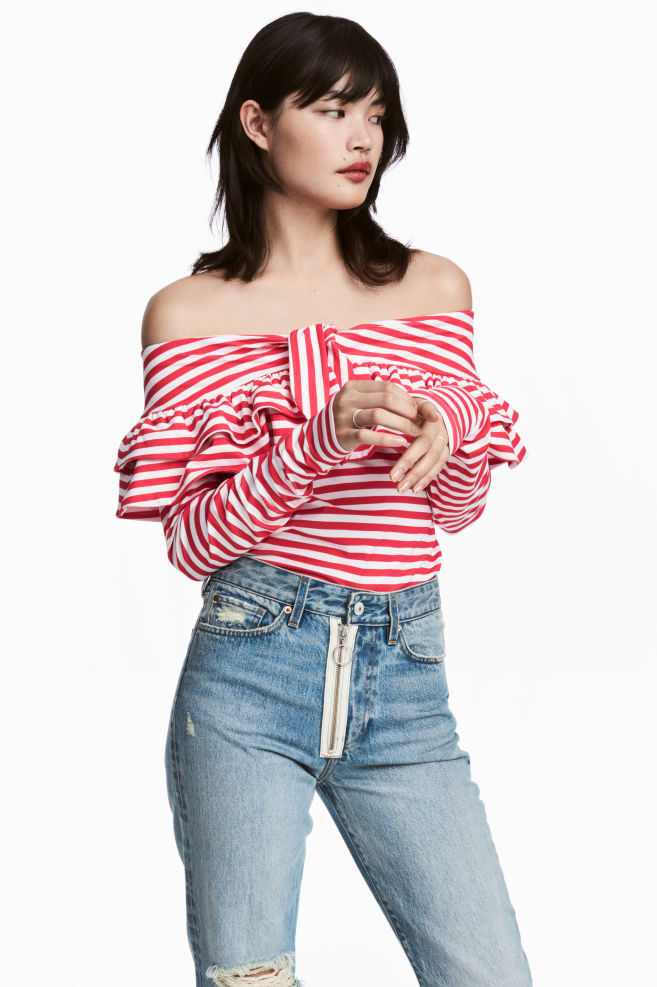 3b5367847bb0e Off-the-shoulder Top - Red/white striped - Ladies   H&M US