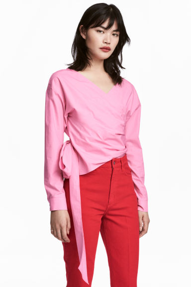Wrapover blouse - Pink - Ladies | H&M CN