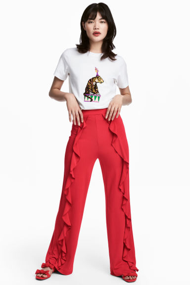 Flounced trousers - Red - Ladies | H&M CN