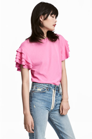 Pima cotton top - Pink -  | H&M