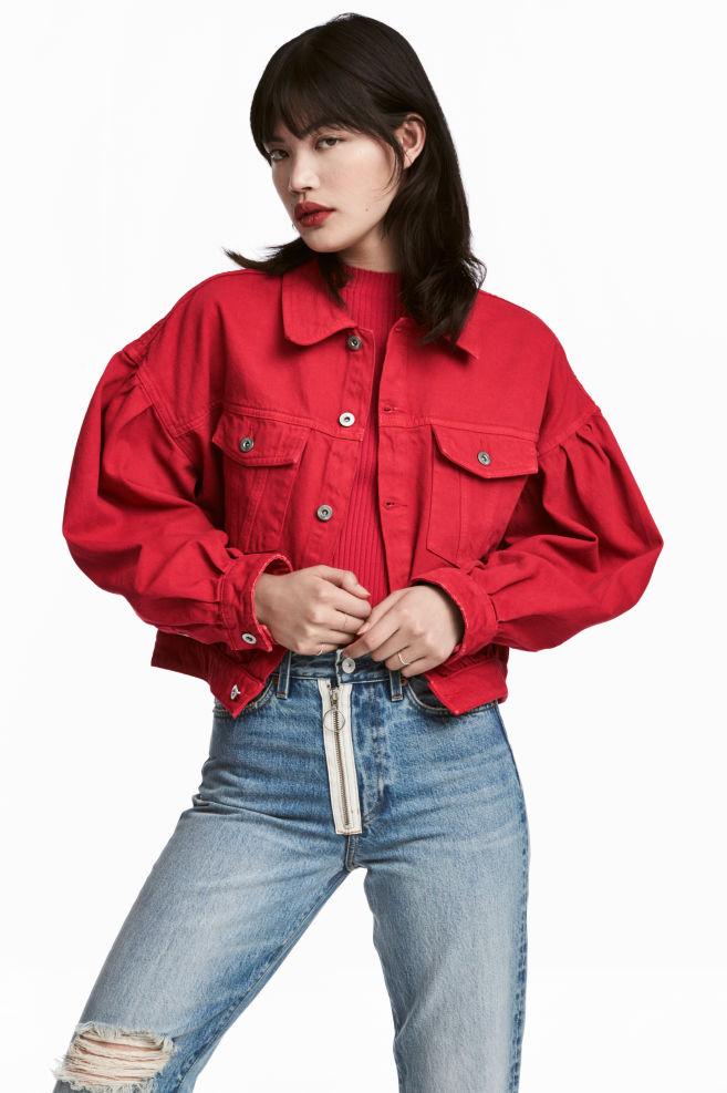 551930556cac0 Veste courte en jean - Rouge - FEMME   H&M ...