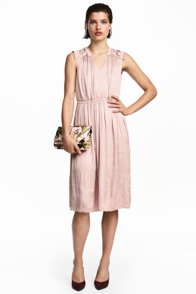 Crêpe satin dress - Powder pink - Ladies | H&M