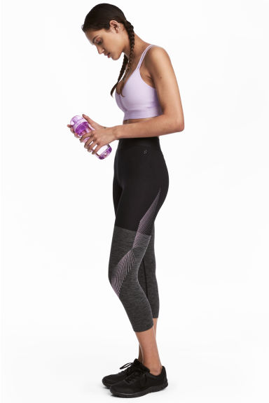 3/4-length sports tights - Dark grey marl - Ladies | H&M GB