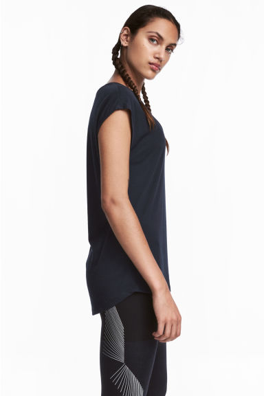 Sports top - Dark blue marl - Ladies | H&M