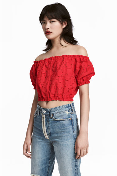 Cropped off-the-shoulder top - Red -  | H&M
