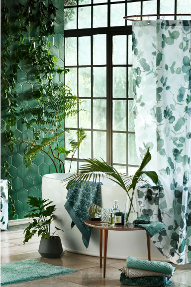 Photo-print shower curtain - White/Leaf - Home All | H&M CN