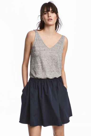 Linen jersey vest top - Grey marl - Ladies | H&M CN