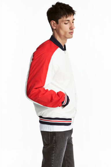 Padded baseball jacket - White/Red -  | H&M