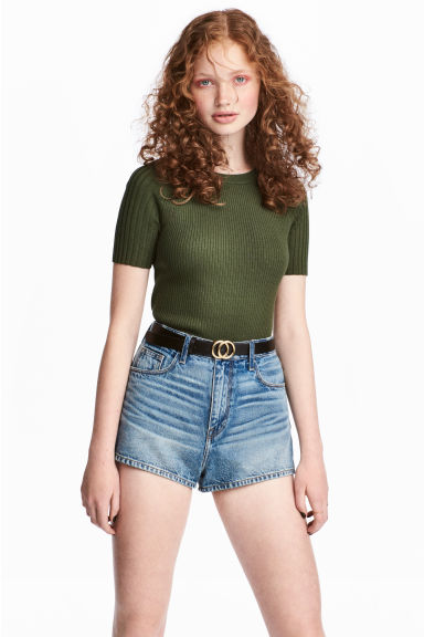 Ribbed top - Khaki green -  | H&M