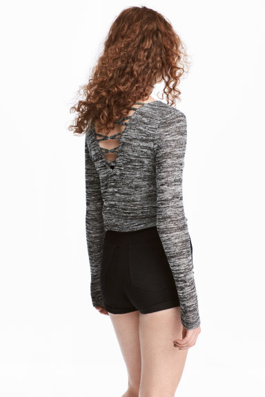 Fine-knit jumper - Black marl - Ladies | H&M