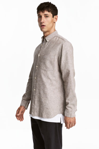 Linen-blend shirt Regular fit - Dark beige marl -  | H&M IE