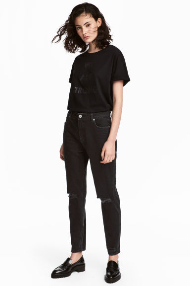 Boyfriend Slim Low Jeans - Black denim - Ladies | H&M CN