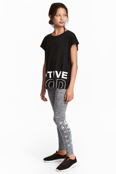 Sports tights - Dark grey/Black marl - Kids | H&M