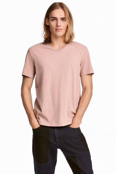 V-neck T-shirt Regular fit - Pale pink - Men | H&M CN