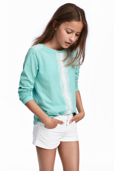 Long-sleeved top with lace - Turquoise - Kids | H&M CN