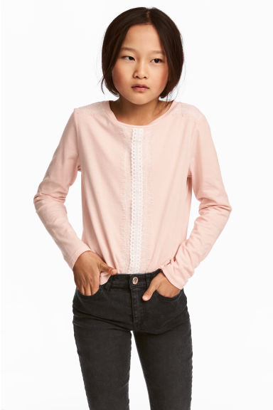 Long-sleeved top with lace - Powder pink - Kids | H&M CN