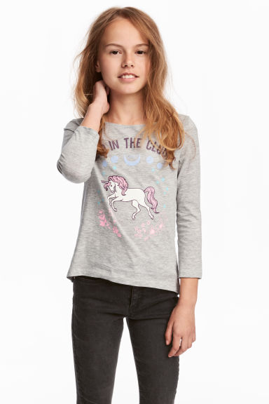 Printed jersey top - Grey/Unicorn - Kids | H&M