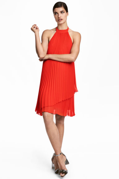 Chiffon halterneck dress - Red - Ladies | H&M