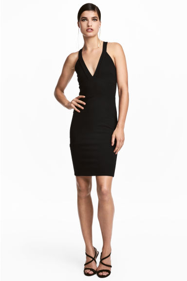 Fitted dress - Black - Ladies | H&M IE