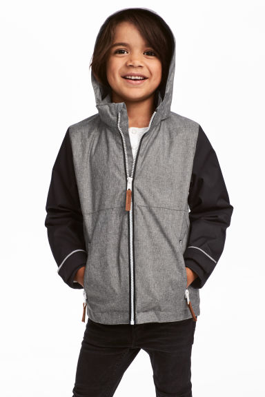 Fleece-lined shell jacket - Grey marl -  | H&M GB