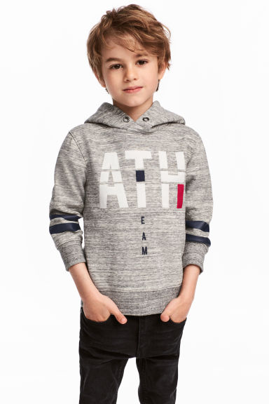 Hooded top with a motif - Grey marl -  | H&M CN