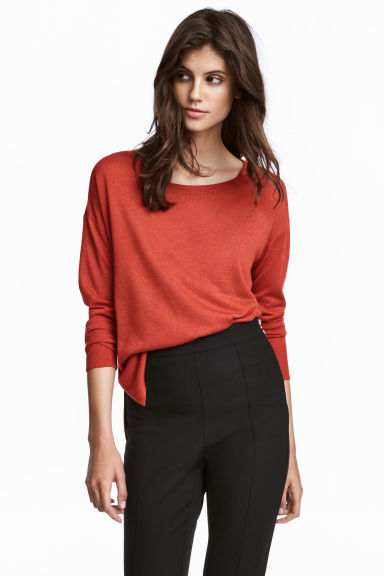 Fine-knit jumper - Dark orange - Ladies | H&M CN