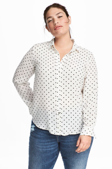 H&M+ Long-sleeved shirt - White/Spotted -  | H&M IE