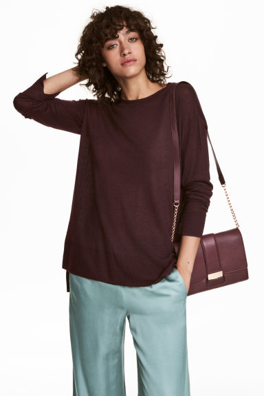 Fine-knit jumper - Plum - Ladies | H&M