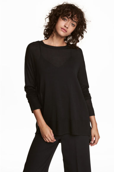 Fine-knit jumper - Black - Ladies | H&M